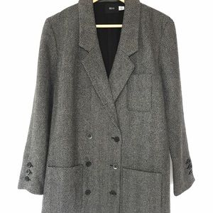 BDG Jackets & Coats - Herringbone longline double-breasted blazer jacket